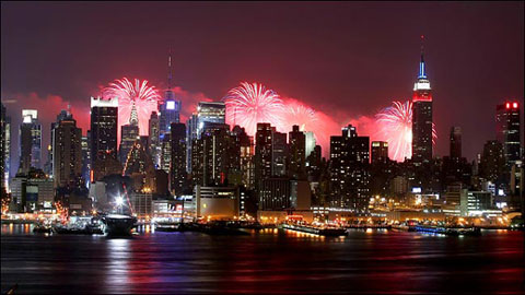New York City skyline with fireworks